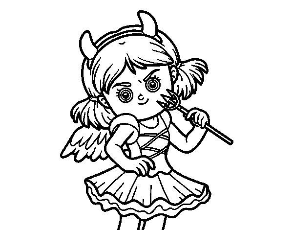Devil costume coloring page