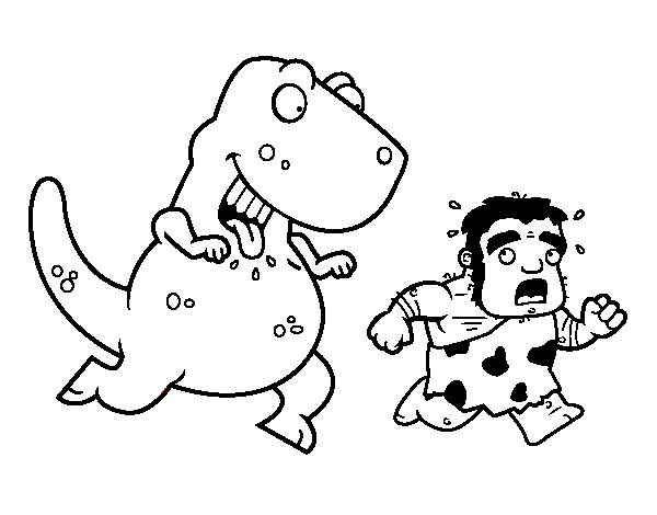 Dinosaur hunter coloring page