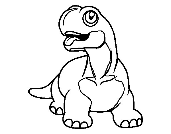 Diplodocus sticking tongue out coloring page