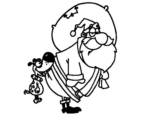 Dog biting Santa Claus coloring page Coloringcrew