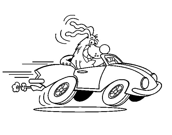 Dog driving a convertible coloring page