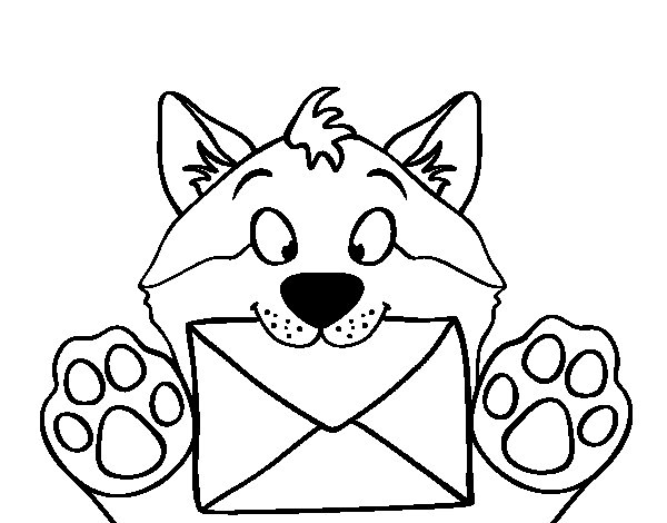 Dog with letter coloring page