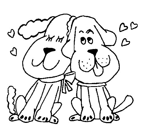 Dogs love coloring page