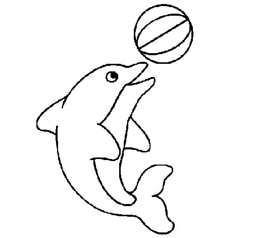 Dolphin Playing Ball With Beautiful Coloring Page moreover Dolphin ...