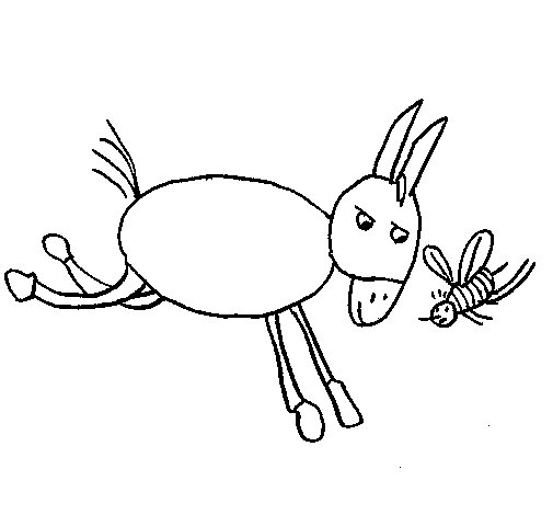 Donkey and bee coloring page