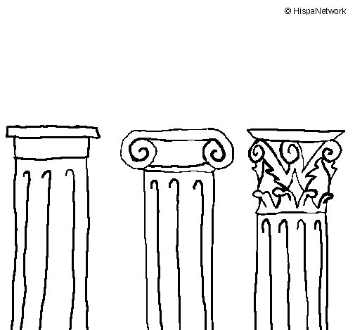 Doric, Ionic and Corinthian capitals coloring page