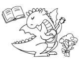 Dragon poet coloring page