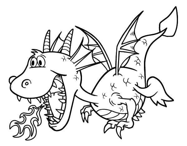Dragon City Coloring Pages: Dragon Throwing Fire Coloring Page
