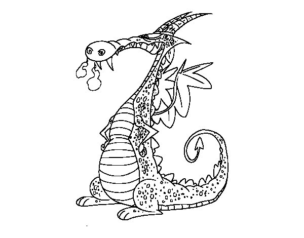 Dragon With Smoke Coloring Page