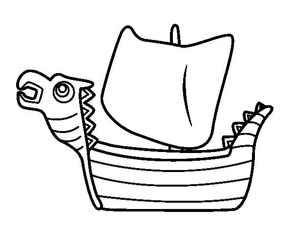 Drakken, Viking boat coloring page