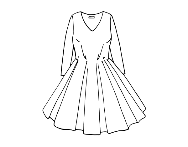 Dress with full skirt coloring page - Coloringcrew.com