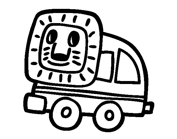 Driving lion coloring page