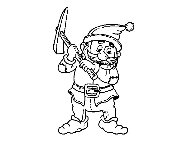Dwarf from fairy tale coloring page