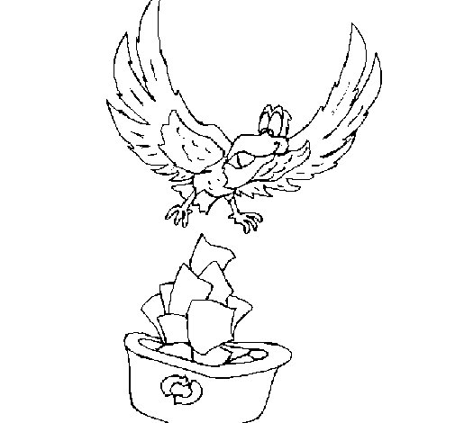 Eagle recycling coloring page