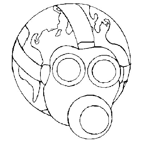Earth with gas mask coloring page