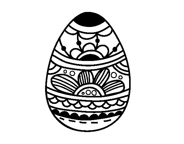 Easter egg with floral print coloring page