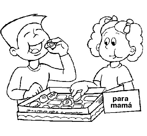 Eating delicious chocolates coloring page