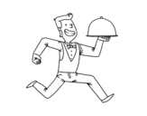 Efficient waiter coloring page