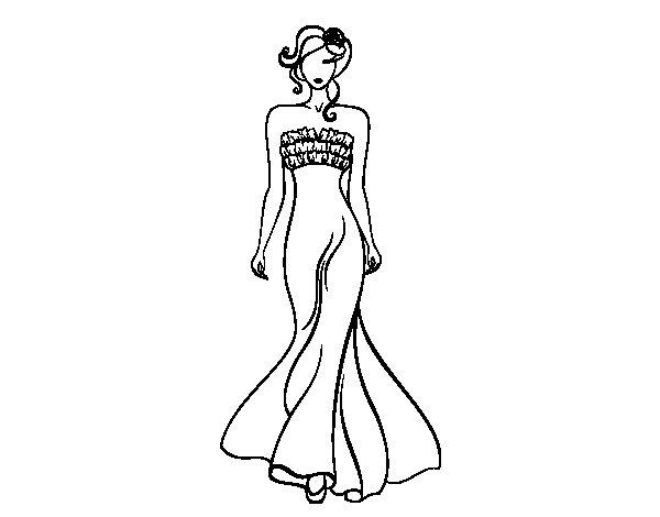 Elegant Wedding dress  coloring page