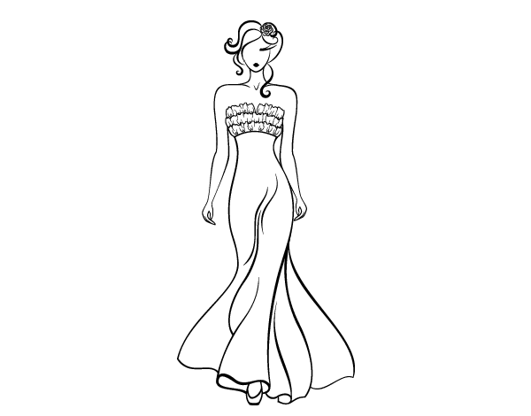 Elegant Wedding Dress Coloring Page Coloringcrewcom