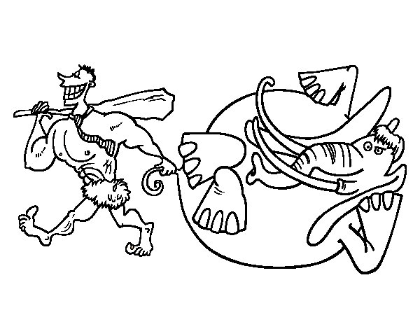 Elephant hunting coloring page