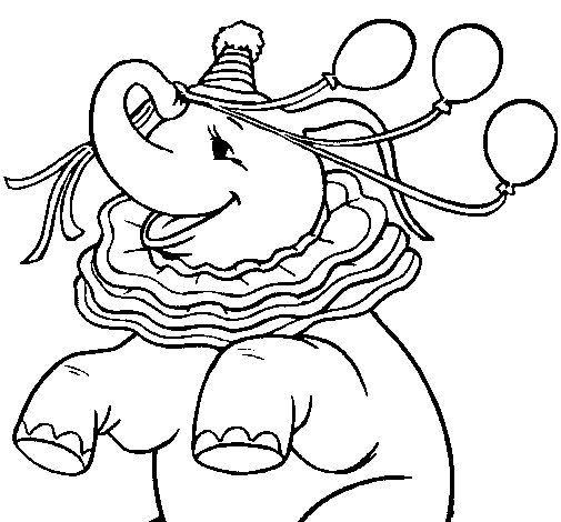 Elephant with 3 balloons coloring page