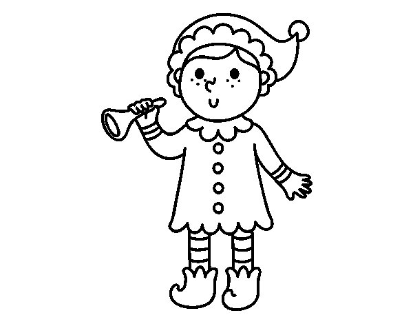 Elf with trumpet coloring page