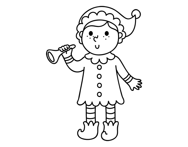elf with trumpet coloring page coloringcrewcom
