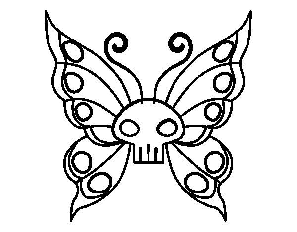 Emo Butterfly Coloring Page