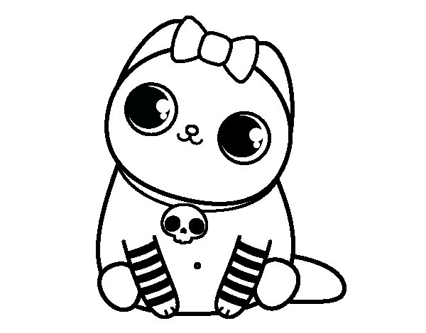 Emo kitten coloring page