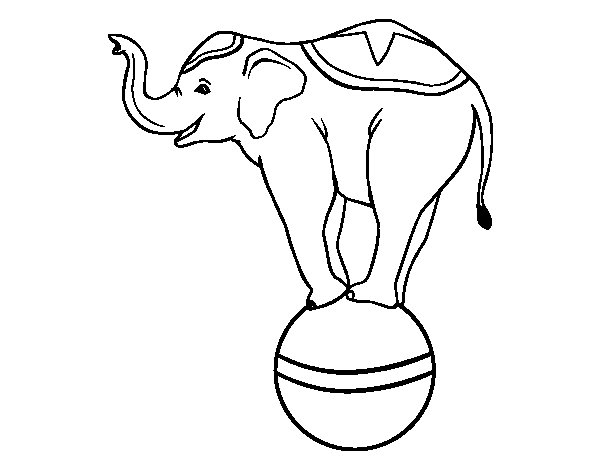 Equilibrist elephant coloring page