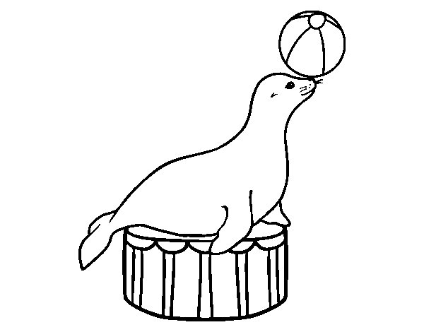 Equilibrist seal coloring page