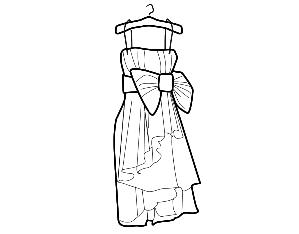 Evening Dress Coloring Page