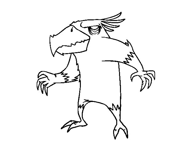Evil monster bird coloring page
