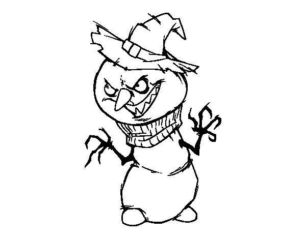 Evil snowman coloring page