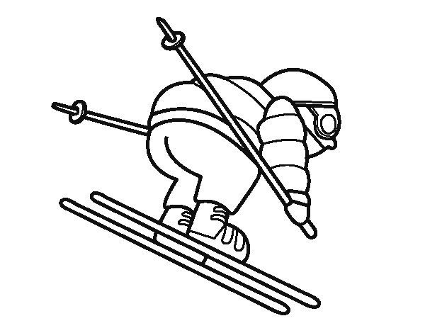 Experienced skier coloring page