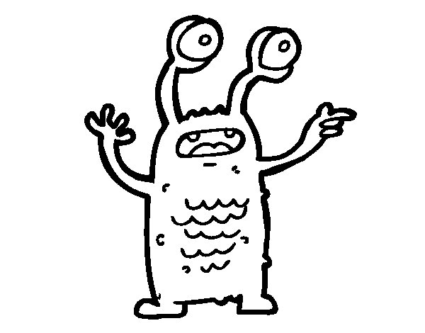 Extraterrestrial with bulging eyes coloring page