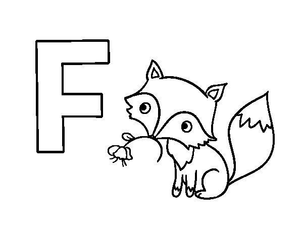 F of Fox coloring page