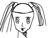 Face of girl with pigtails coloring page