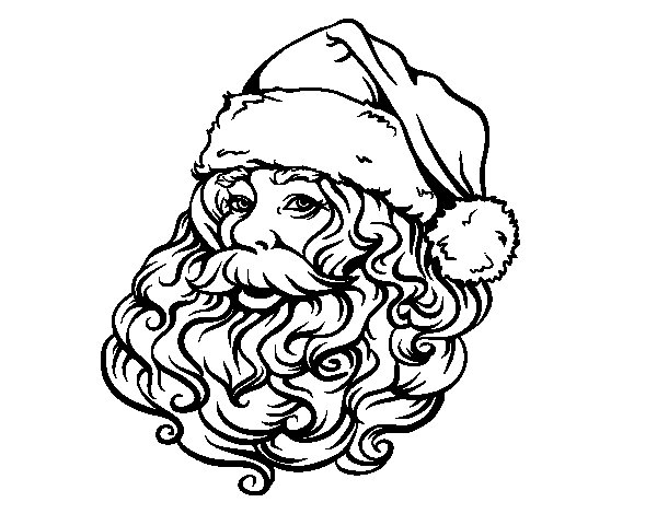 Face of Santa Claus for Christmas coloring page