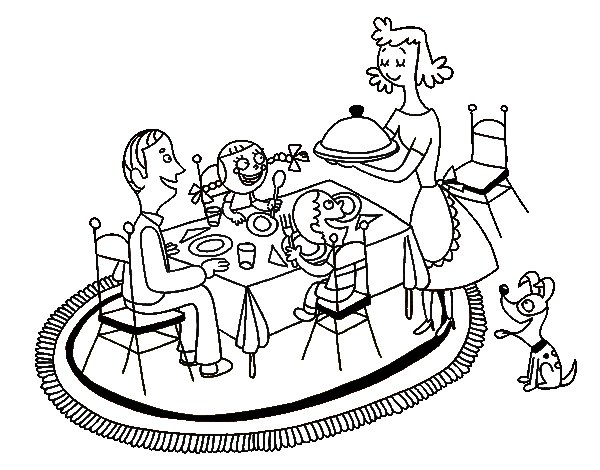 Family dinner coloring page for Dinner coloring pages