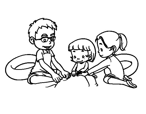 Family in the beach coloring page