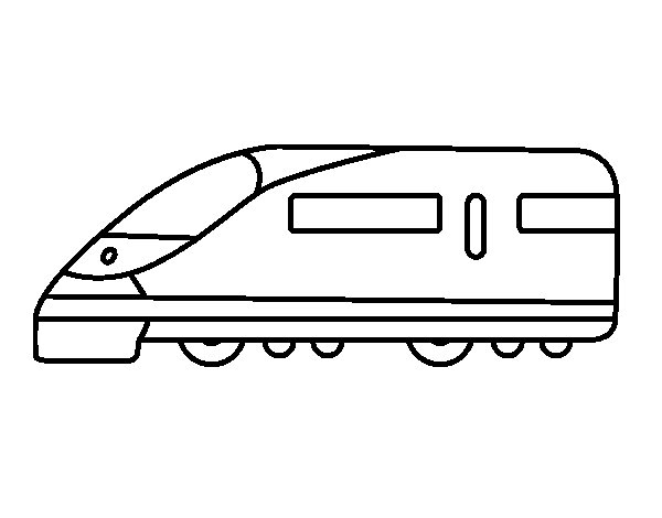 Fast train coloring page