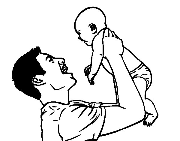 Father and baby coloring page