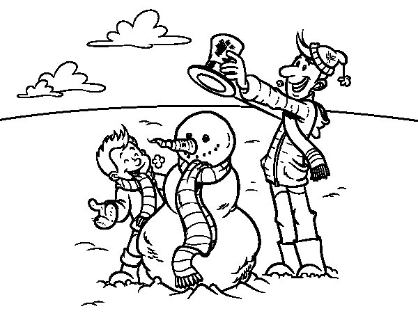Father and son in snow coloring page