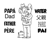 Father and son with hat coloring page