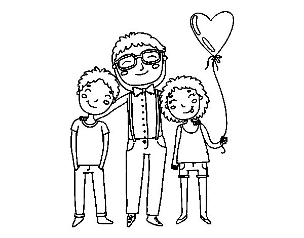 Father and sons coloring page