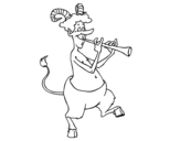 Faun playing the flute coloring page