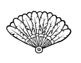 Feather hand fan coloring page