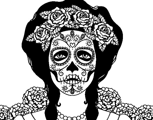 Female mexican skull coloring page